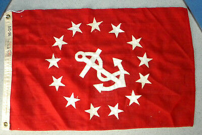 """Vintage Bunting Wool Flag 16"""" x 24"""" Red WIth Sewn 13 Stars & Anchor"""