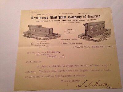 Continuous Rail Joint Company of America 1901 Letterhead with Engravings