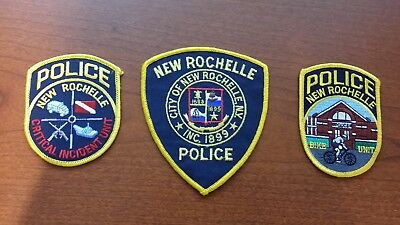 Lot of 3 New Rochelle NY Police Patches - Westchester County