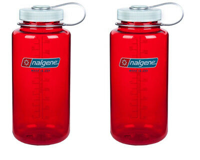 Nalgene 32oz Wide Mouth Tritan BPA Free Water Bottle - Outdoor Red - 2 Pack
