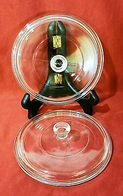 VTG Pyrex P83C Replacement Glass Lids (TWO) 6-3/4 Inch, Round, Clear GREAT COND.