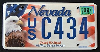 "NEVADA "" UNITED WE STAND "" 9/11 - EAGLE - FLAG - 2011 NV Specialty License Plate"