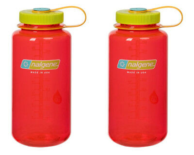 Nalgene 32oz Wide Mouth Tritan BPA Free Water Bottle Pomegranate Red - 2 Pack