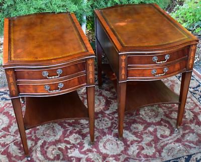 1930s Pair of English Regency Style Mahogany wood and leather top Nightstands