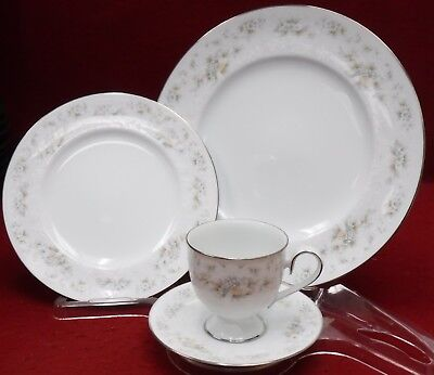 NORITAKE china PATIENCE 2964 pttn 4-piece Place Setting cup saucer dinner bread