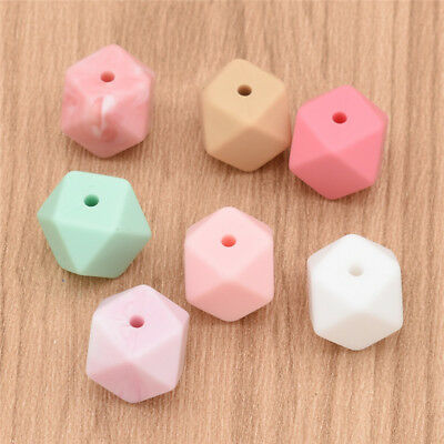 Teeny Teeth 10 PCS Silicone Hexagon Beads  Teething DIY Silicone Loose Beads