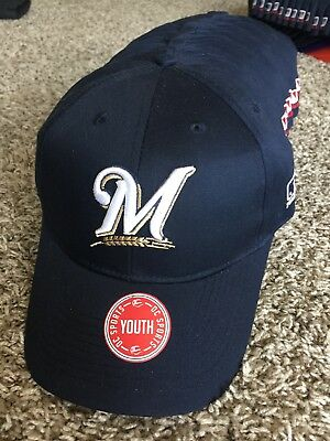 7dc5fa52bd3f1 MLB Milwaukee Brewers Baseball Adjustable Youth Cap Hat Mike Moustakas