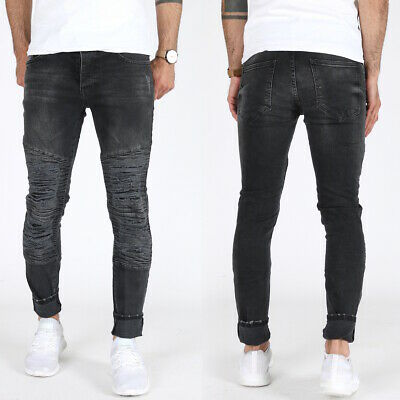 Denim House Uomo Skinny Fit Jeans Pantaloni Destroyed Biker Look DDH-1557