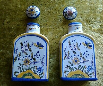 pair vintage Portuguese jars bottles hand painted European insects