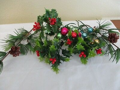 15 piece vintage christmas floral glass balls decor picks pine cones holly