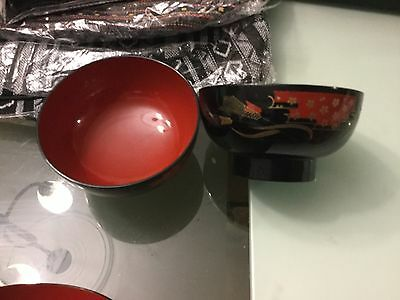 Collection of 6 Japanese lacquerware bowls VGUC Surplus to need