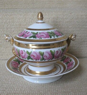 Stunning Antique Hand Painted Old Paris Covered Sauce Tureen With Plate