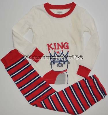 Gymboree Boys Gymmies 4 4T King of Hearts Dog Red Striped  Winter Pajamas