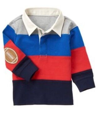 Gymboree Huddle Up 3T Striped Football Rugby Shirt Polo Red Blue Gray