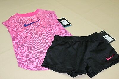 75af2fc0d564 NWT Girls Nike Dri Fit Outfit Black Shorts Set Pink T-shirt Active Athletic  6