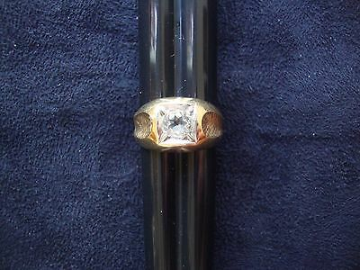 Vintage Retro Mens Cz 18K Yellow Heavy Gold Electro Plated Ring Sz11