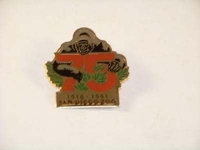 San Diego Zoo 75th Anniversary Pin 1916-1991 Gorilla Lapel or Hat Pin