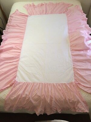 Janie and Jack Baby Layette Crib Dust Ruffle Pink Pastel Cotton Drop Bed Skirt