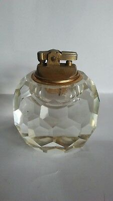 Vintage glass and brass table lighter
