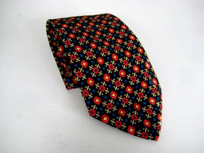 Lot:B7 - BRIONI Men's 100% Silk Necktie ITALY Black / Red / Blue - NEW $125