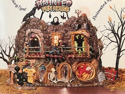 NEW - MIB - Dept 56 Snow Village Halloween HAUNTED FUN HOUSE Gift Set ANIMATED