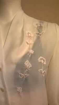 """VTG 50's """"Judy Bond"""" Ivory Voile/White & Gold Embroidered Flowers Blouse M/L?"""