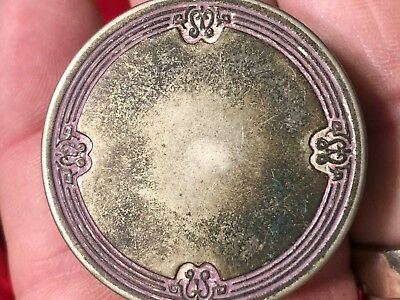Antique 1920's MELBA MANUFACTURING Silver Plate Rouge Compact Case Mirror Lid