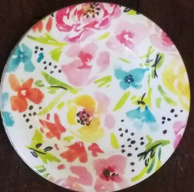 New Nicole Miller Pink Yellow Turquoise Floral Set Of 4 Salad Plates