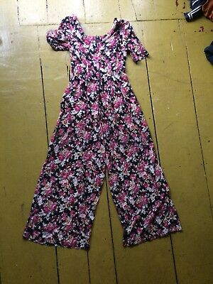 Vtg 90s Grunge Babydoll Floral Rayon Palazzo Wide Legs Jumpsuit Maxi Pants XS