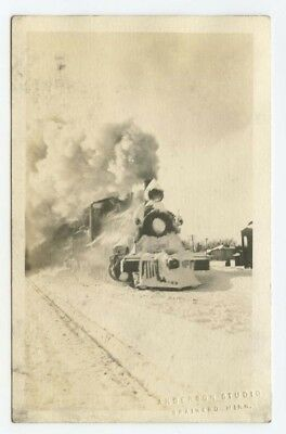 BRAINERD, MN ~ Railroad locomotive in snow ~ M&I ~ Minnesota RPPC postcard #3