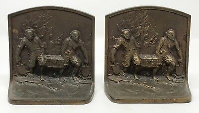 Pair Vintage Antique Cast Iron Pirates with Treasure Chest Bookends SCP