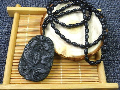 New natural Black green jade Hand-carved pendant Dragon&phoenix With necklace