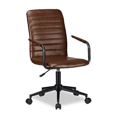 Brown Office Desk Chair, Ergonomic Swivel Executive Chair with Wheels, 120 kg