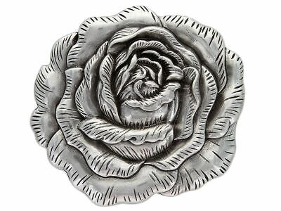 ANTIQUE ENGRAVED ROSE FLOWER BUCKLE WOMEN'S BELT BUCKLE fits up to 1-1/2""