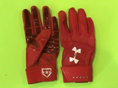 Under Armour HEATER Red Men's Batting Gloves Size: Adult small Heat Gear