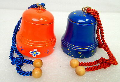 Pair Reuge Swiss Musical Movement Wooden Pull Bells w/ Satin Ropes