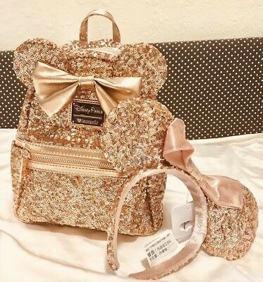 Disney Parks Disneyland Rose Gold Exclusive Loungefly Backpack & Minnie Ear Set