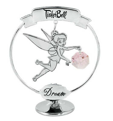 Disney Chrome Plated Tinkerbell Freestanding Dream Pink Crystal Gift Collectable