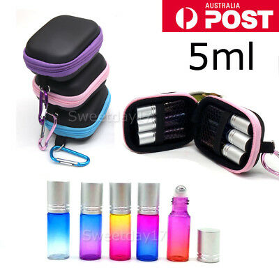 NEW 6X 5ml Gradient Mixcolor Thick Glass Bottle Roller Essential Oil Roll + Case