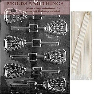 LACROSSE LOLLY Chocolate Candy Mould With © Moulding Instruction + 50 Lollipop