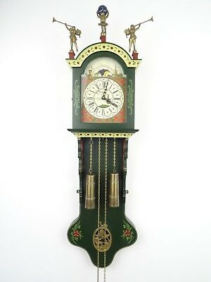 Dutch Friesian Rare Hindeloopen Wall Clock BIG Vintage Antique 8 day Holland
