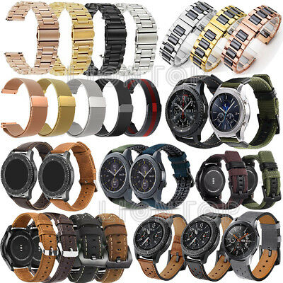 Quick Leather Stainless Steel Loop Watch Band for Samsung Galaxy Watch 42mm 46mm