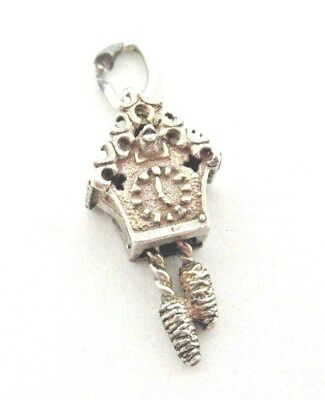 VINTAGE 925 STERLING SILVER CHARM DETAILED CUCKOO CLOCK WEIGHTS MOVE 2.5 g