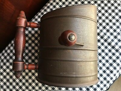 VINTAGE NICKELOID VICTOR  Extra Heavy  METAL TIN Hand Crank FLOUR SIFTER