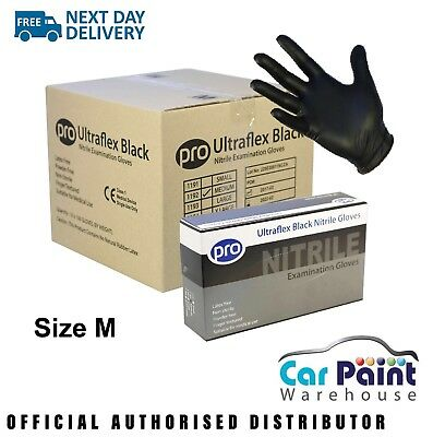 10 x PRO Ultraflex Nitrile Black Gloves Size M Powder Free 100pk Bodyshop
