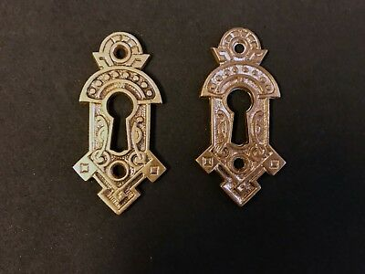 Pair Celtic Inspired Antique Victorian Solid Brass Keyhole plates 1885 Eastlake