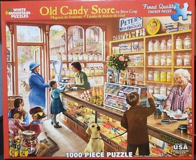 """White Mountain """"Old Candy Store"""" by Steve Crisp 1000 piece 24"""" x 30"""" puzzle 2014"""