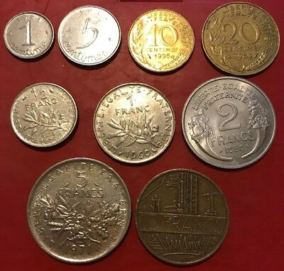 French Coin ( 9 Coins, From 1 Centime To 10 Francs)