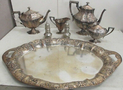 Barbour Bros Co. Silver Plate Victorian Coffee/Tea 7 Piece  Service Set-STUNNING