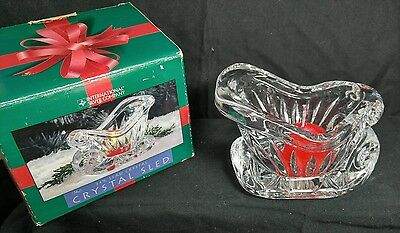 By International Silver Co. Lead Crystal Sled Holiday Bowl Dish Centerpiece USA